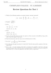 MATH 201 Fall 2007 Review Questions for Test 1 Solutions
