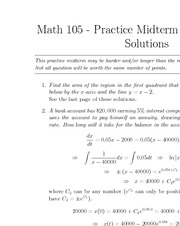 MATH 105 Fall 2011 Midterm 2 Practice Problems Set 2 Solutions
