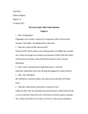 Gatsby Study Guide Questions Chap 4-5