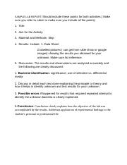 Sample Lab Report format unknown bacteria Identification lab.doc
