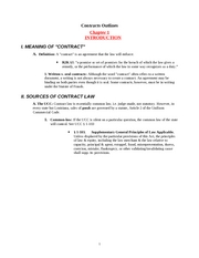 Contracts Outline Emanuel
