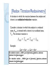Redox Titration Part 1
