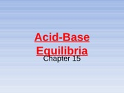 Acid-Base Equililbria