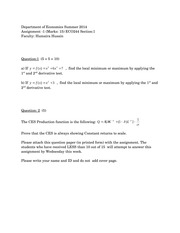 Assignment -1 ECO244 Section -1