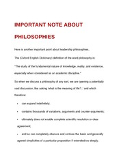 important note about philosophies