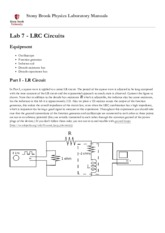 Lab 7 - LRC Circuits [Stony Brook Physics Laboratory Manuals]