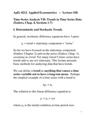 Time Series Data Notes