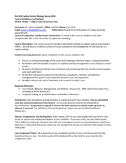 Bio 333 Captive Animal Biology Spring 2014 - Syllabus