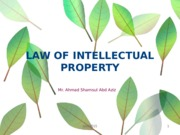 Topic 10 - Intellectual Property Law