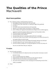machiavelli the qualities of the prince