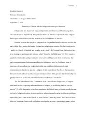 Ch.1 Summary (religious landscape of America) (Final Draft)