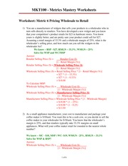 Metrics 6 & 7 Mastery Worksheets - with answers