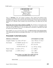 Exam 2 Spring 2014 on Chemistry for Engineers