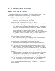 04 09 Understanding Satire Rtf Understanding Satire Worksheet