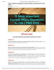 Top 15 Most Important Current Affairs Questions for CE-2019.pdf