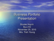 Week 9 Business Portfolio Presentation