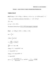 Phys 111-101 Week 5 Solutions