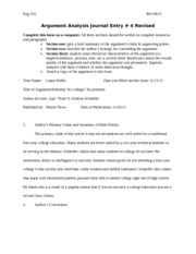Argument Analysis form fall 4