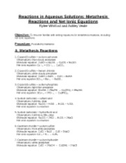 Worksheets Reactions In Aqueous Solutions Worksheet chemistry1 reactions in aqueous solutions metathesis and net