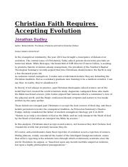 Christian Faith Requires Accepting Evolution