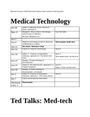 NSCI 300 F15 Final Exam Notes from lectures starting with Medical technology Nov 4