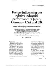 Factors influencing the relative industrial performance of Japan, Germany  USA and UK