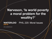 Phil 220 Is world poverty a moral problem for the wealthy