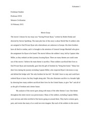 Movie Essay-Western Civ