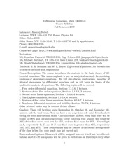 Differential Equations Syllabus