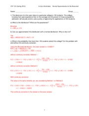 Worksheet Normal Approximation to the Bionomial