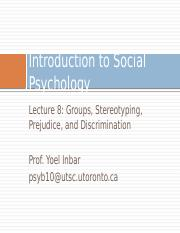 Lecture 8-Stereotyping, discrimination