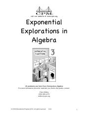 Exponential Explorations Handout 2013