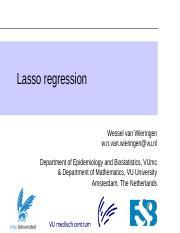 WNvanWieringen_HDDA_Lecture56_LassoRegression_20182019 pdf