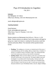 Syllabus Intro to Cognition