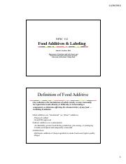 Lec24_Food Additives & Labeling
