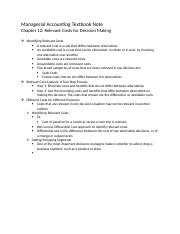Managerial Accounting Textbook Note Chapter 12