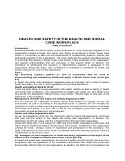 HEALTH AND SAFETY IN THE HEALTH AND SOCIAL CARE WORKPLACE.docx