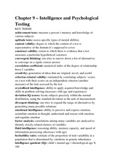 Chapter 9 – Intelligence and Psychological Testing