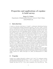 Properties and applications of copulas