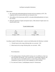 Lab Report nucleophilic Substitution