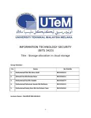 INFORMATION TECHNOLOGY SECURITY - Storage Allocation in Cloud Storage.docx
