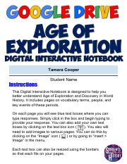 Tamara's Copy of Age of Exploration Digital Interactive Notebook