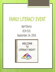 FAMILY LITERACY EVENT