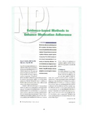 Evidence-based Methods to Enhance Medication Adherence