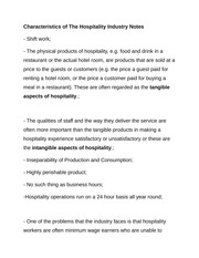 Characteristics of The Hospitality Industry Notes