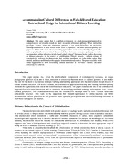 Accommodating Cultural Differences in Web-delivered Education Instructional Design for International