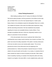 Police and Society Critical Thinking HW 2