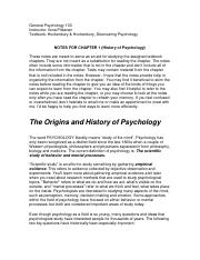 HISTORY OF PSYCHOLOGY NOTES (CHAPTER 1)1