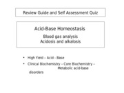 Review Guide - Lecture 4 - Acid-base Homeostasis, Blood gas analysis - 2010