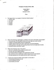 GEOL 1100 lecture quiz 3 version A 2012